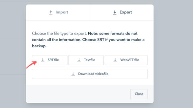 SRT file - export srt file